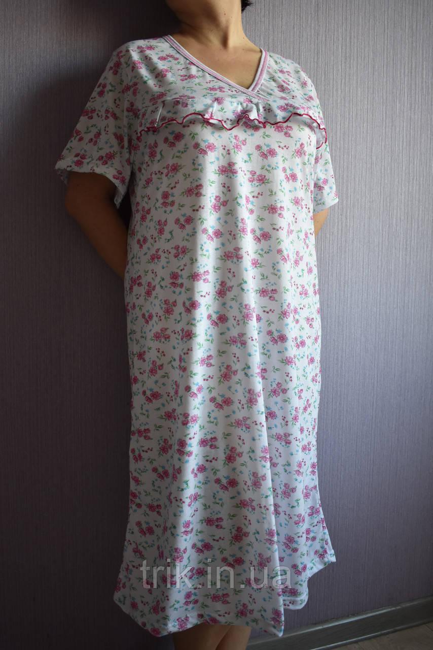 Ночная рубашка классика розовые пиончики баталы