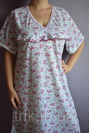 Ночная рубашка классика розовые пиончики баталы, фото 2