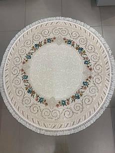 Ковер современная классика GALERIA G131A 1,6Х1,6 КРЕМОВЫЙ круг