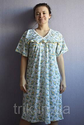 Рубашка ночная классика желто голубой букетик, фото 2