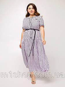 Літнє світло-бузкові вільний батальне плаття в горошок (Маниста lzn)