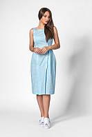 Молодіжне плаття на бретелях, приталеного силуету з кишенями