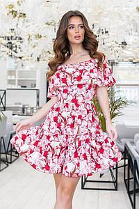 """Платье-мини в цветочек """"CORK"""" с воланами и оголенными плечами"""