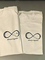 Парные футболки для влюбленных парня и девушки - always together с датами годовщины