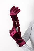 Перчатки FAMO Женские перчатки велюровые сенсорные Орландо бордовые One size (PER1816)
