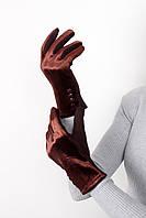 Перчатки FAMO Женские перчатки велюровые сенсорные Орландо коричневые One size (PER1816)
