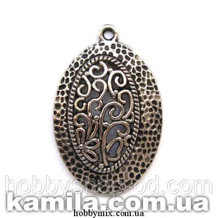 """Кулон металлический """"овальный ажур"""" серебро (2,5х3,8 см) 2 шт в уп."""