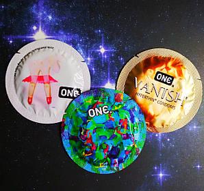 Набор разных презервативов ONE (USA) США 3 шт. тонкие презервативы в обильной смазке
