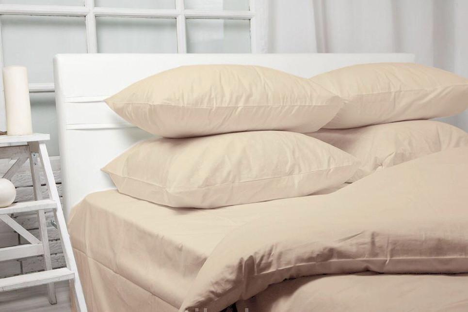 Однотонное постельное бельё в бежевом цвете ткань голд