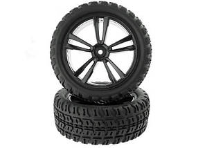 1:10 Black Short Course Front Tires and Rims (31211B+31404) 2P