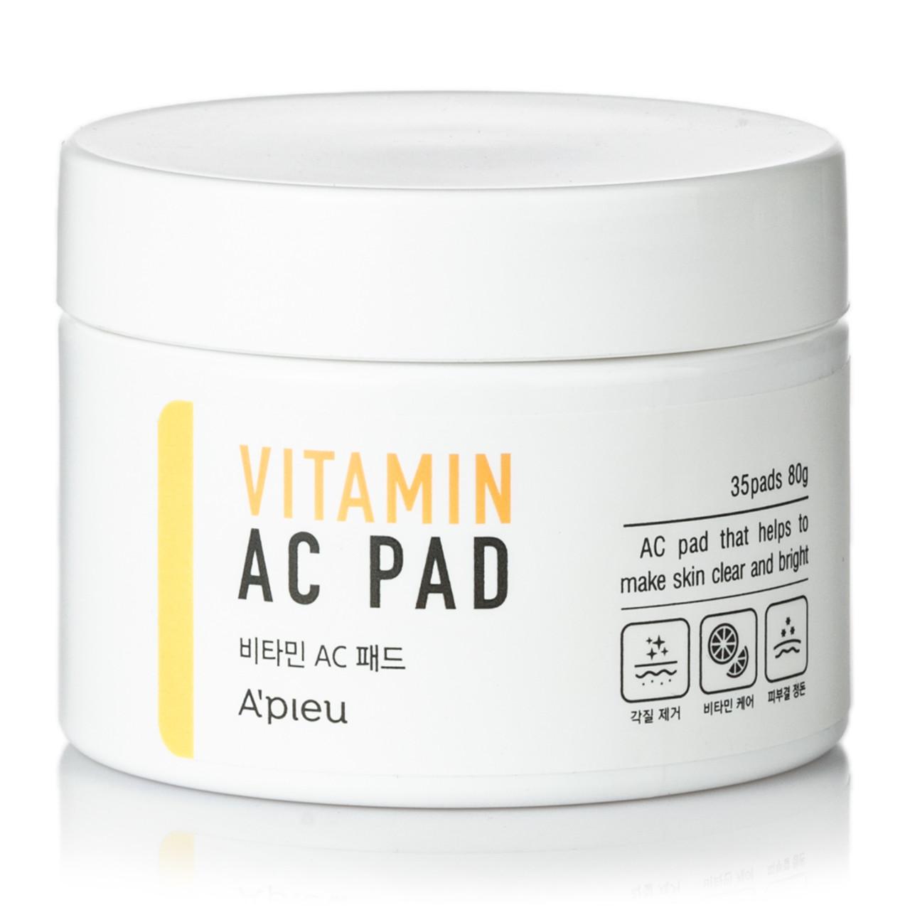 Пилинг-диски для очищения кожи лица с AHA и BHA кислотами и 6 витаминами A'pieu Vitamin AC Pad 35 шт