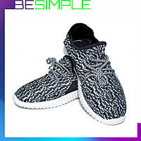 Кроссовки Adidas Yeezy Boost 350 спортивные (37-41 размер) Черно-белый (36, 42 р.)