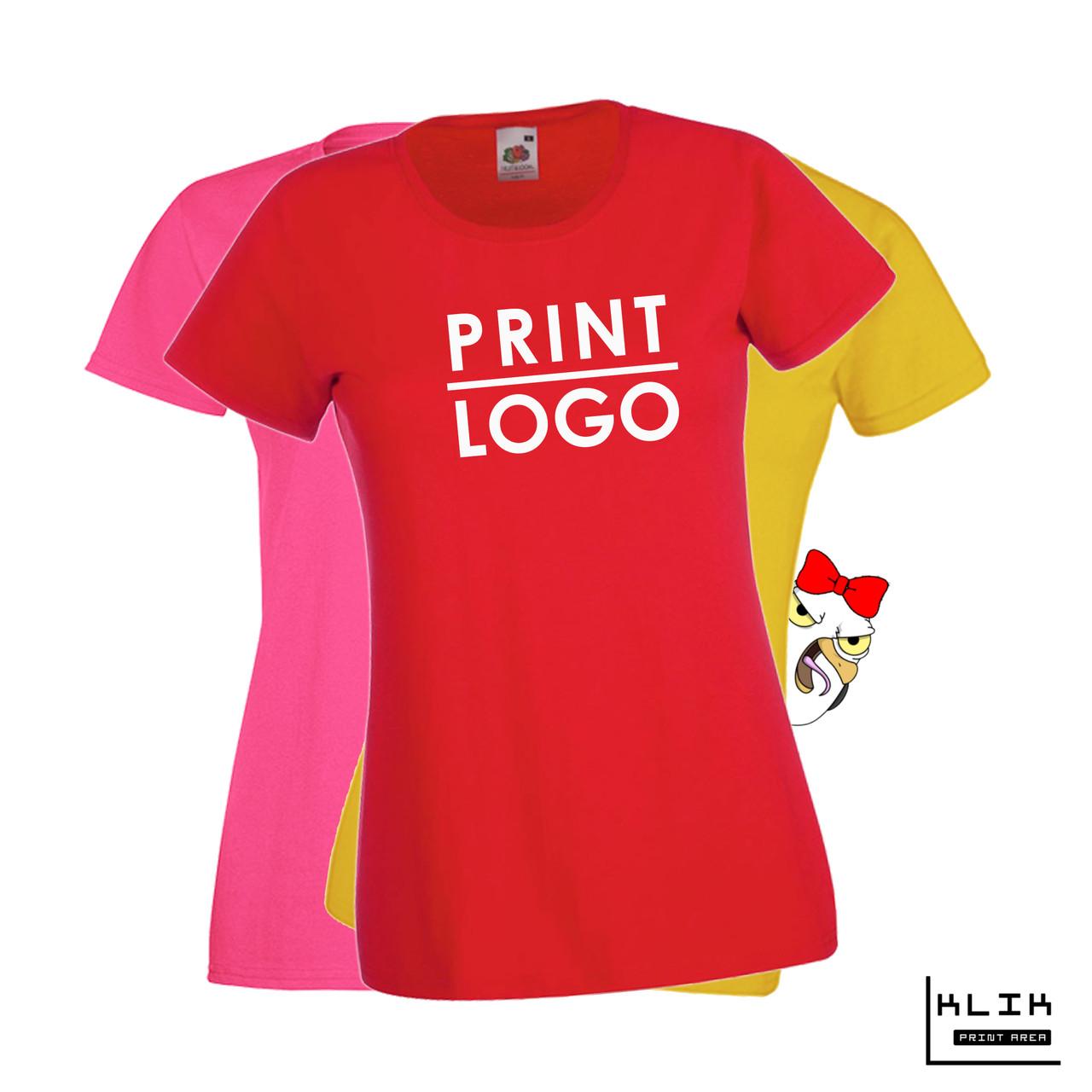 Печать на футболке женской Стандарт (принт размером А4)