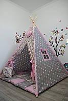 """Большой вигвам с единорогами для девочки с мягким ковриком подушечками """"Единороги с розовыми пряниками"""""""