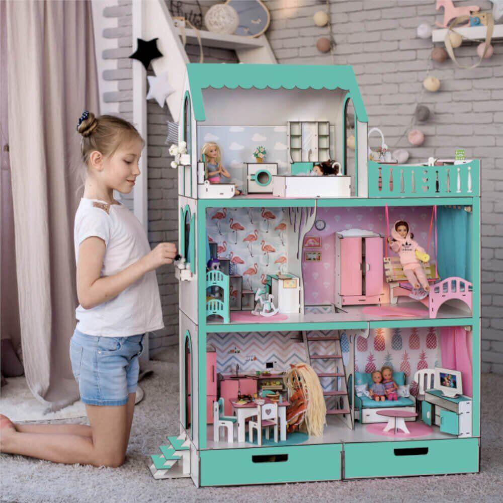 """""""ЛЮКС"""" кукольный домик NestWood для Барби, без мебели, мятный"""