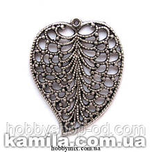 """Кулон металлический """"ажурный листочек"""" серебро (3,8х4,8 см) 1 шт в уп."""