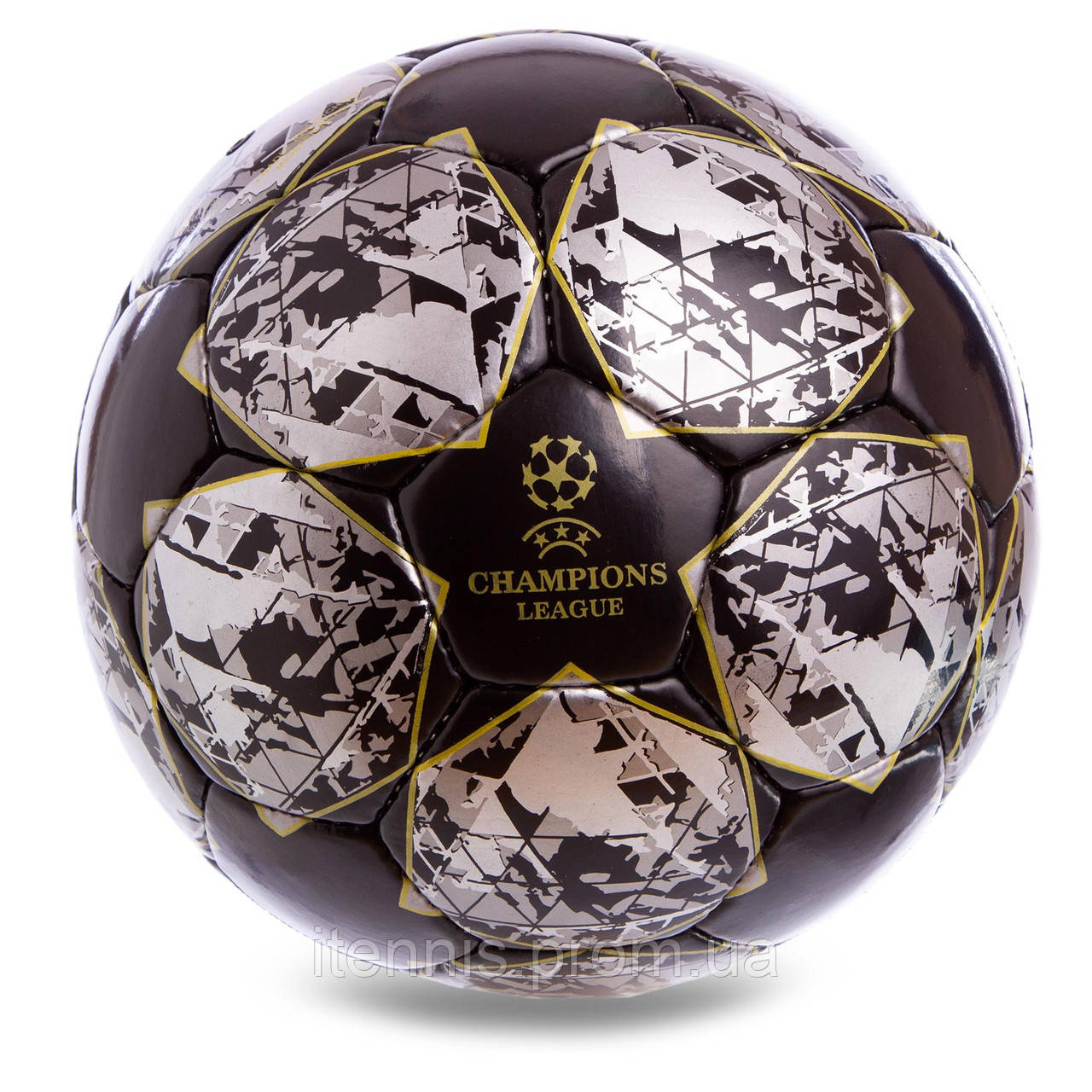 """Футбольный мяч Champions League Black size 5 """"Ручной шов"""""""