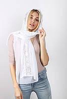 Торжественныей белый женский шарф с кружевом опт и розница