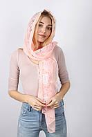 Персиковый женский шарф осень-весна из кружева и вискозы
