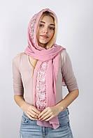 Нежный романтичный широкий нарядный  пудровый  шарф разные цвета
