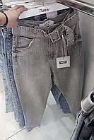 Женские турецкие джинсы RAW с высокой посадкой светло-серого цвета с россыпью страз и поясом