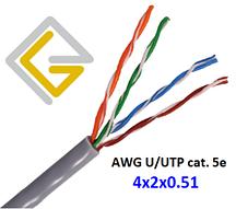 Кабель сетевой AWG PVC 4х2х0,51 U/UTP-cat.5E для внутренней прокладки