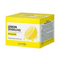 Очищающие пилинг-диски для лица с лимонным соком Secret Key Lemon Sparkling Peeling Pad 70 шт (8809305999826), фото 3