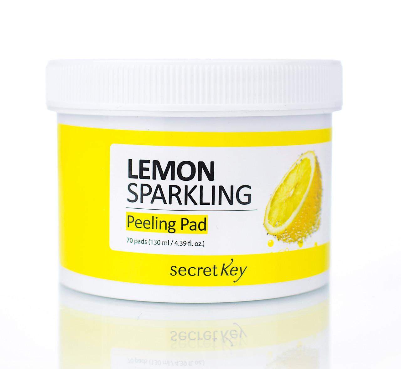 Очищающие пилинг-диски для лица с лимонным соком Secret Key Lemon Sparkling Peeling Pad 70 шт (8809305999826)
