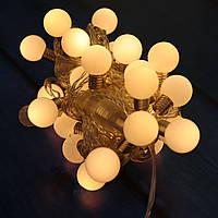 🔥 Гирлянда Уличная Лампочки LED 20 Теплый белый, 650 см, прозрачный провод, переходник (1362-07)