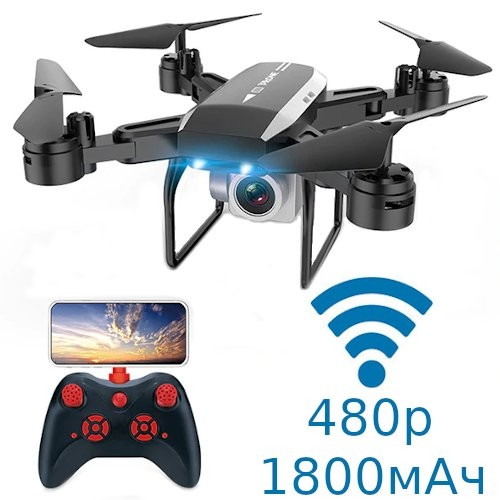 Квадрокоптер Дрон Wi-Fi с камерой 480p складной 1800мАч 30мин KY606D
