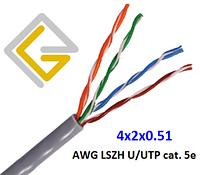 Кабель сетевой AWG LSZH 4х2х0,51 U/UTP-cat.5E для внутренней прокладки