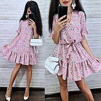 Платье мини женское легкое свободного кроя с поясом в цветочный принт Smmk4454