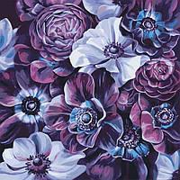 Картина для рисования по номерам на холсте Цветы Пурпурное разнообразие 40х40 Идейка КНО3016
