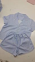 Женская льняная пижама для комфортного сна Light-Blue (size L)