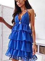 Женское стильное приталенное платье на бретелях, фото 1