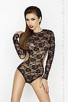 Боди монокини с длинным рукавом и закрытым плечом YOLANDA BODY black L/XL - Passion