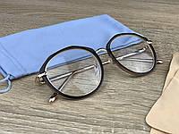 Жіночі іміджеві/комп'ютерні окуляри для оптики в золотій металевій оправі