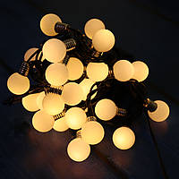 🔥 Гирлянда Уличная Лампочки LED 30 Теплый белый, 650 см, черный провод, переходник (1363-07)