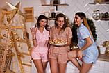 Женская льняная пижама для комфортного сна Light-Blue (size S), фото 4