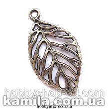"""Кулон металлический """"ажурный листочек"""" серебро (2,7х5 см) 2 шт в уп."""