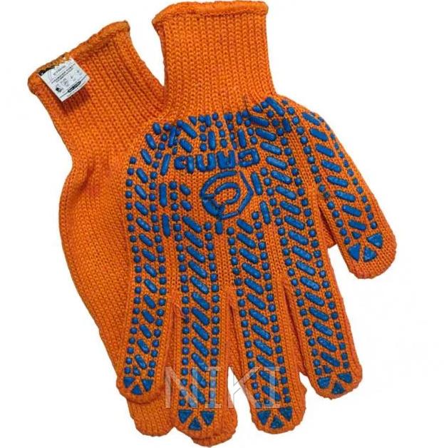 Перчатки рабочие ХБ оранж с синим ПВХ Сталь 21103