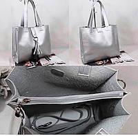 Женские сумки эко кожа РАСПРОДАЖА (СЕРЕБРО)28*31см