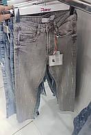 Женские турецкие джинсы RAW с высокой посадкой светло-серого цвета со стразами