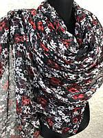 Женский широкий черный шарф в цветочек (цв.4)