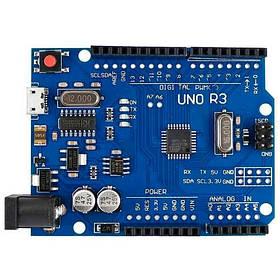Плата Arduino Uno R3, ATmega328P-AU, CH340G Micro USB, AVR, F2