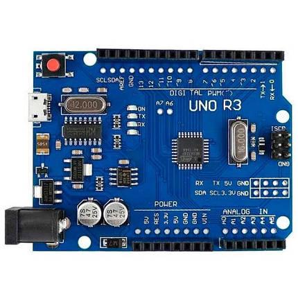 Плата Arduino Uno R3, ATmega328P-AU, CH340G Micro USB, AVR, F2, фото 2