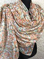 Женский хлопковый обьемный шарф цветочный (цв.5)