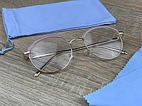 Жіночі витончені іміджеві / комп'ютерні окуляри для оптики в золотій металевій оправі