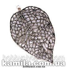 """Кулон металлический """"ажурный листочек"""" серебро (5х8 см) 1 шт в уп."""