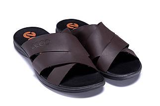 Мужские кожаные летние шлепанцы-сланцы в стиле E-seriesBiom  Brown ПК-е кор, фото 2
